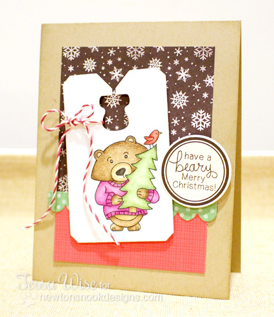 Bear with Christmas Tree Card by Tessa Wise for Newton's Nook Designs - Winston's Home for Christmas Stamp set