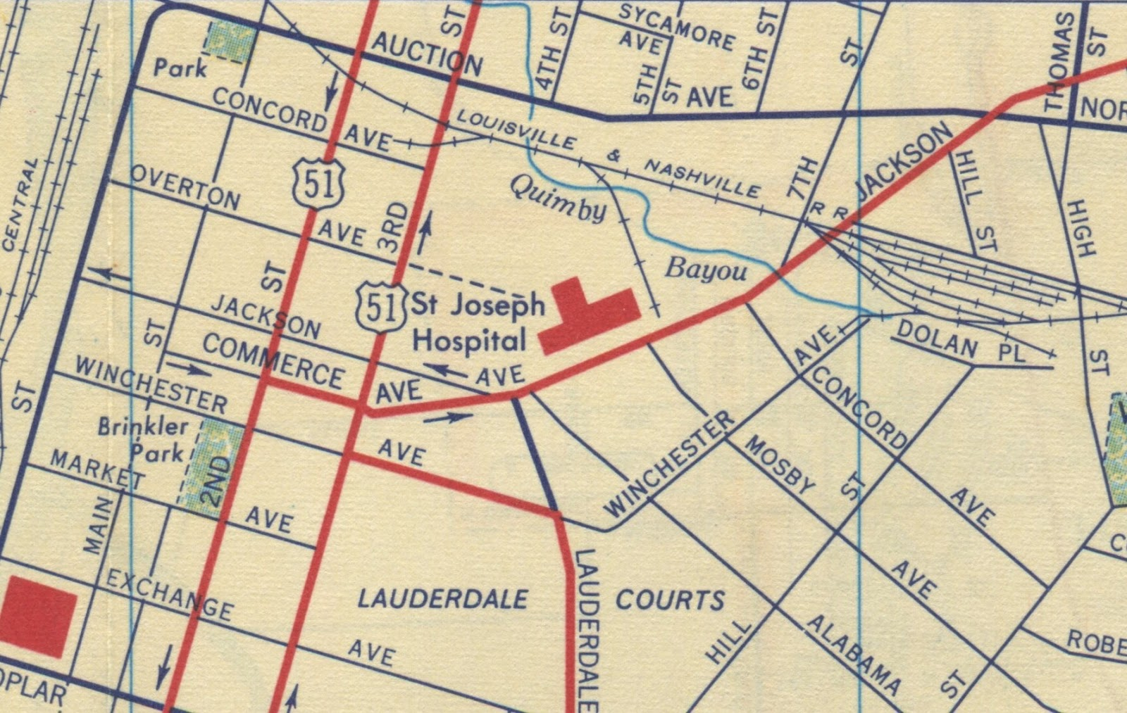 fast forward to 1958 and we still find jackson connected to itself st joseph hospital is where it stood in 1914 at the corner of jackson and alabama