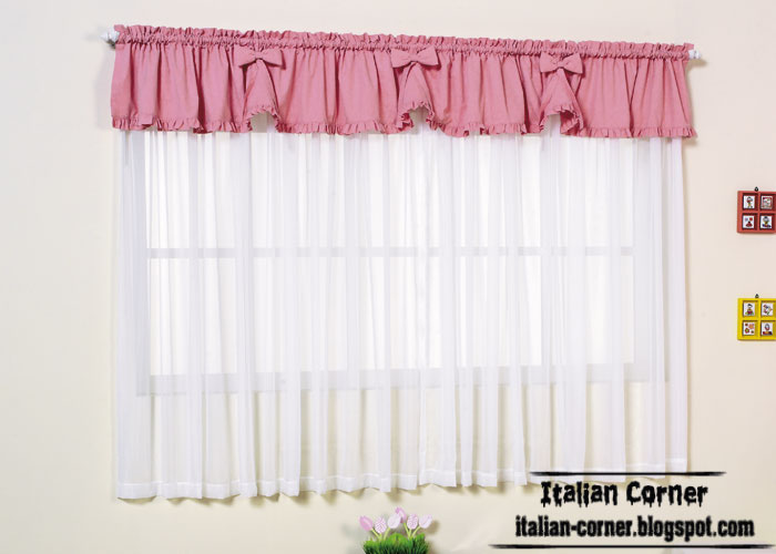 Italian Curtain With Pink Valance For Girls Room, Small Windows Curtain Pink