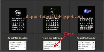 Copy Kode Widget Kalender