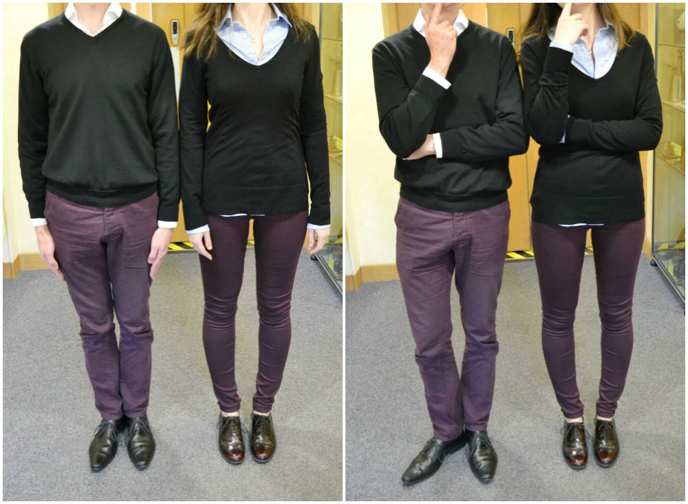 matching clothes work twins jeggings purple black jumper long tall sally