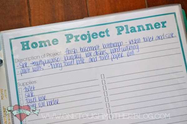 Printable Home Project Planner Day 11 001 Build A Family Binder In 31 Days Day 11 Sweet