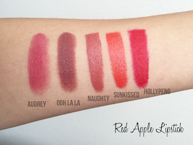 Photo of Red Apple Lipstick lipstick swatches in Audrey, Ooh La La, Naughty, and Sunkissed.