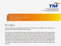 Message From Tan Sri Zam Isa about Datuk Gazali Harun Retirement 2014