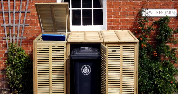 Wooden Triple Wheelie Bin Cover