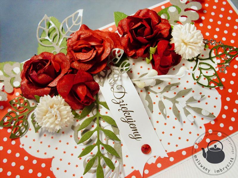 scrapbooking card kartka red rose kwiaty róże podziękowanie malowany imbryczek