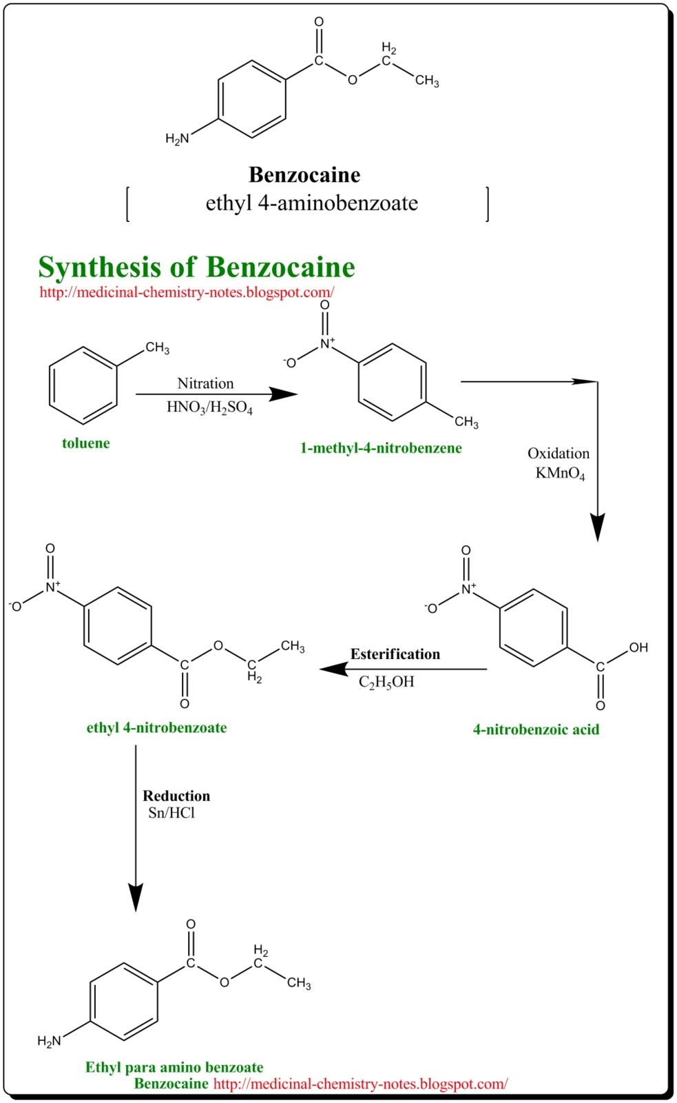 synthesis of benzocaine Synthesis of benzocaine purpose: to prepare benzocaine (a local anesthetic) from p-aminobenzoic acid and ethanol, via a fischer esterification reaction note: the ethanol used was denatured, and contained about 90% ethanol by weight.
