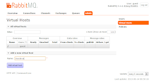 RabbitMQ management UI Virtual Hosts screen.