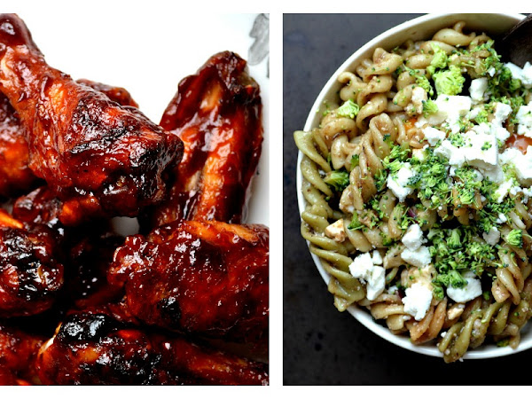 Oven Baked Sriracha and Beer BBQ Chicken Wings and Pasta Salad for Tom