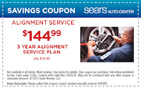 Sears $20 OFF 3 year plan wheel alignment coupon 2015