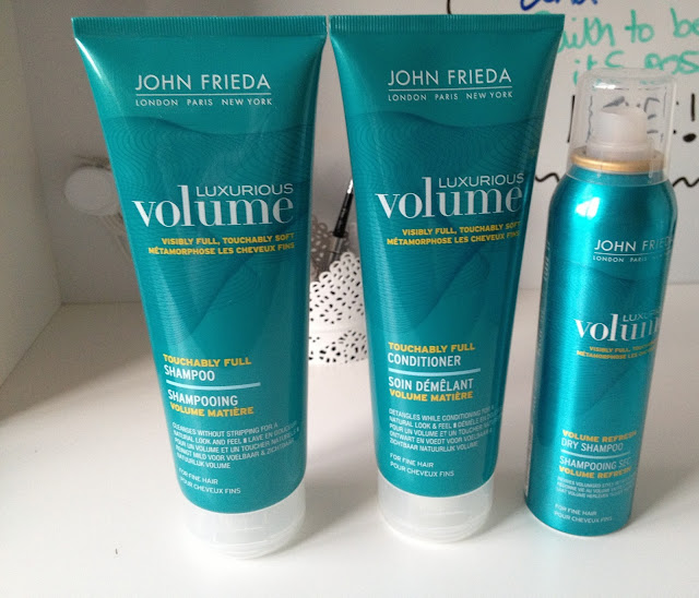 john frieda luxurious volume shampoo, conditioner and dry shampoo