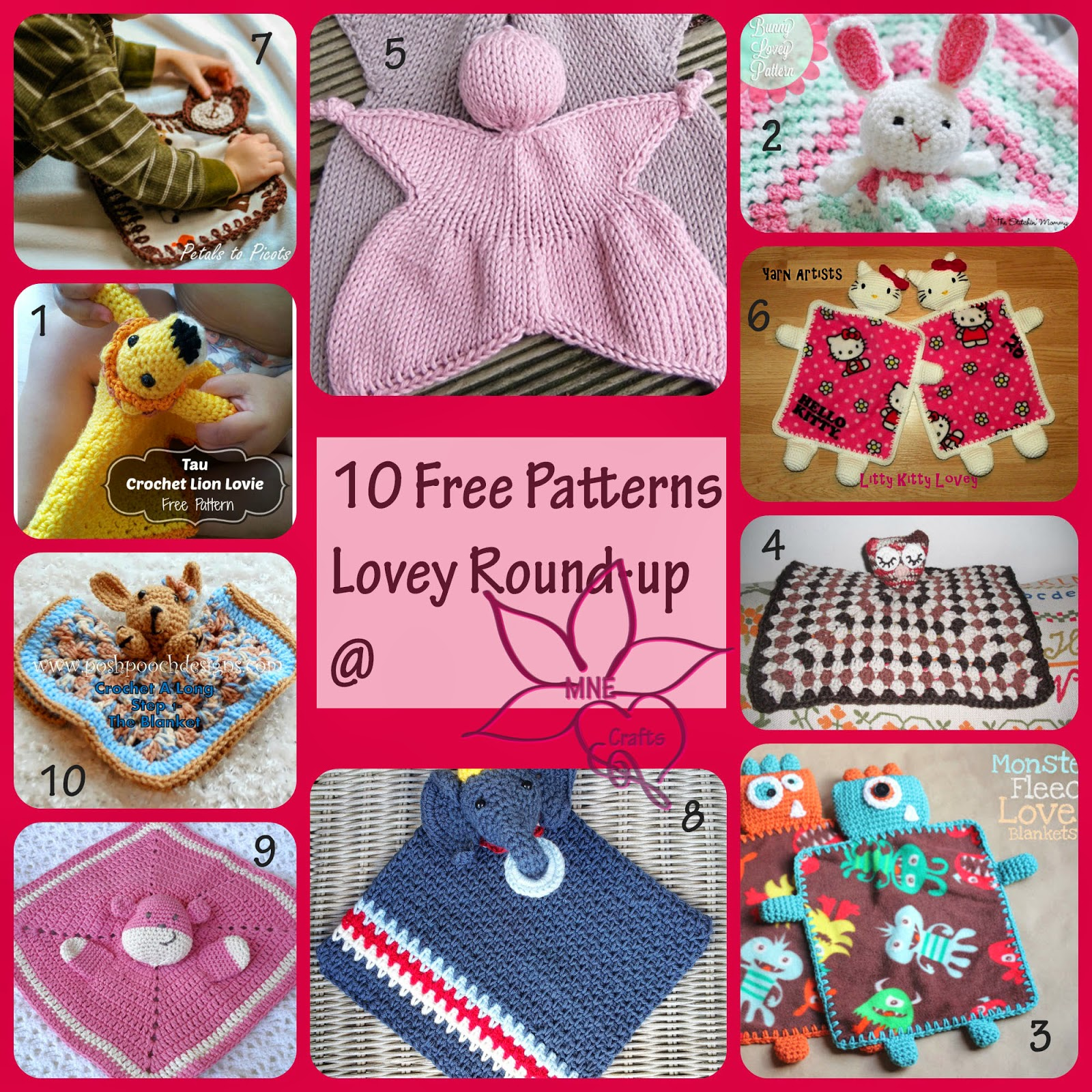 MNE Crafts: Lovey Round-Up - 10 Free Lovey Patterns