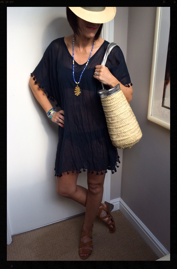 Seafolly, Coco Bay, My Midlife Fashion, Kaftan, Bikini, Clarks, Sandals, Panama, Straw Basket, Hipanema