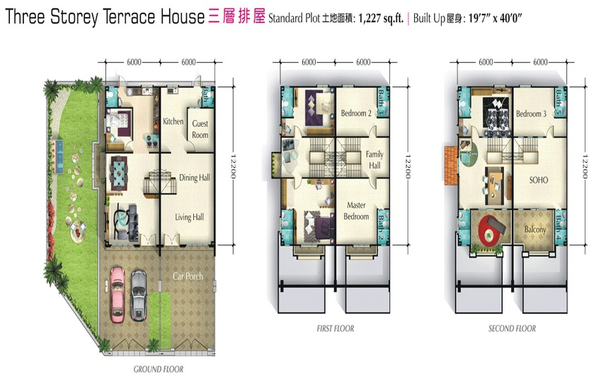 Living at taman merbau indah oriental max group sdn bhd for 3 storey terrace house design
