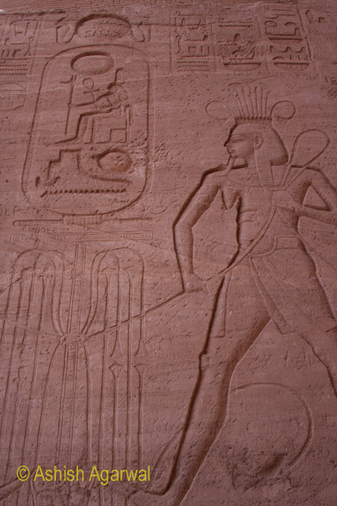 Part of the inscriptions on the exterior walls of the temple at Abu Simbel in south Egypt