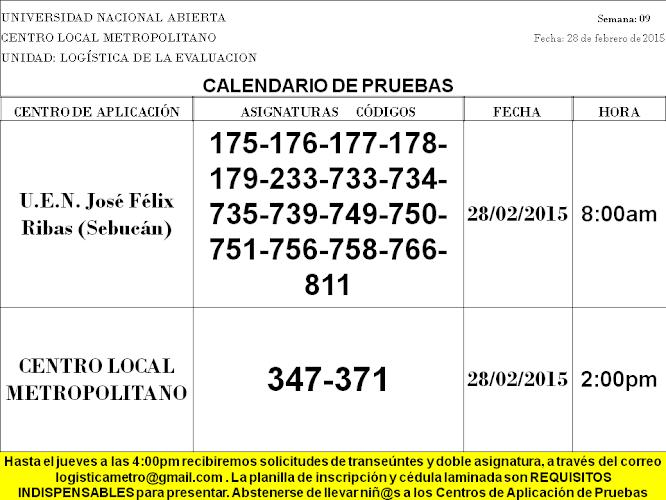 CENTRO DE PRESENTACIÓN EN CARACAS. SÁBADO 28 DE FEBRERO 2015