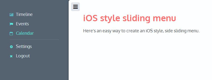 iOS style sliding menu
