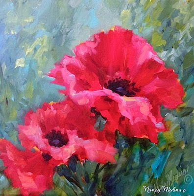 Since the poppy brushes were all warmed up, one more daily and it's time to wash the puggies and put the brushes to bed - Windswept Pink Poppies, 12X12, oil http://nancymedina.fineartstudioonline.com/workszoom/1321871