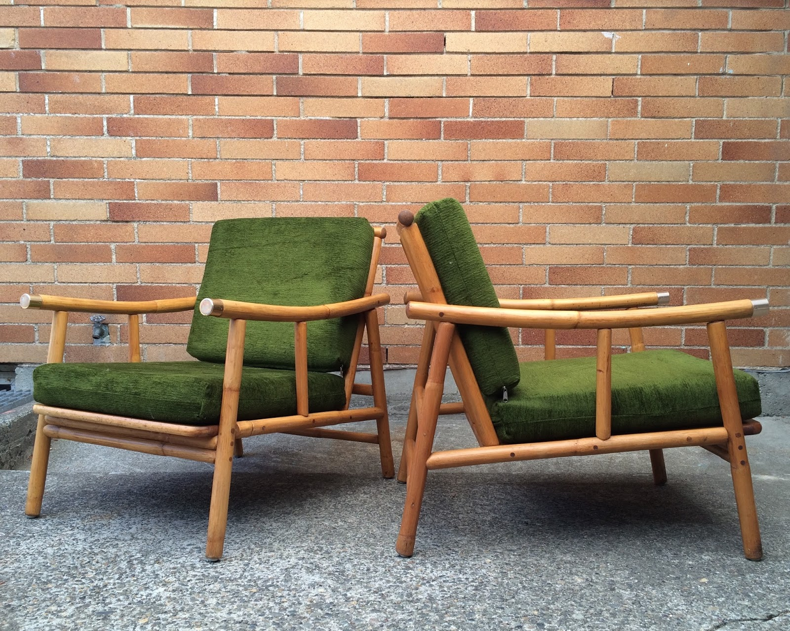 PAIR OF NEWLY UPHOLSTERED MID CENTURY CHAIRS By Ficks Reed Rattan With  Brass Detailing. Circa 1960. $895 Pair