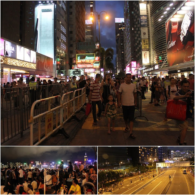 Streets are closed for pedestrians to walk in Hong Kong for the 15th anniversary Celebration of Hong Kong Handover to China on 1st July 2012