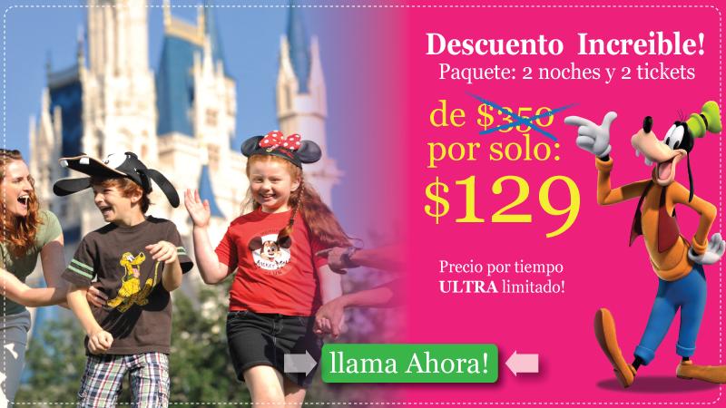 3 Dias + 2 Tiquetes de Disney por $129
