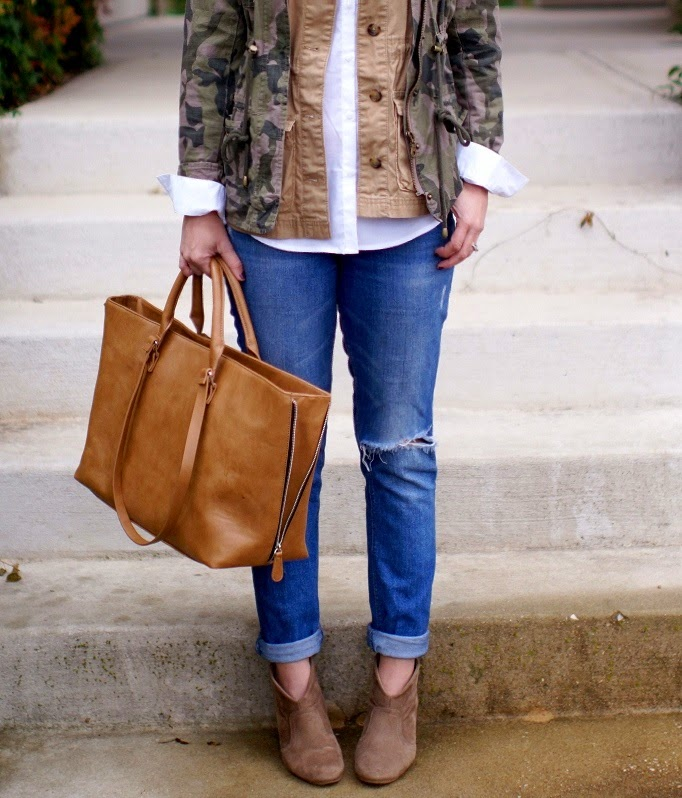 Distressed Old Navy Boyfriend Denim Taupe Ankle Boots