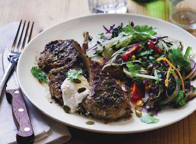 Barbecued lamb cutlets with Mexican slaw
