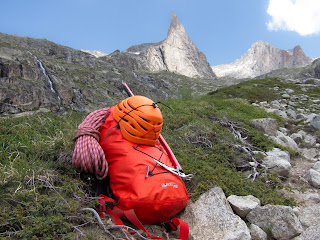 Arc'teryx Alpha FL 45 in front of the Aiguille Dibona