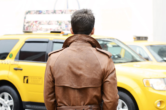 NYC, tan trench coat, taxi, yellow cab, streetstyle