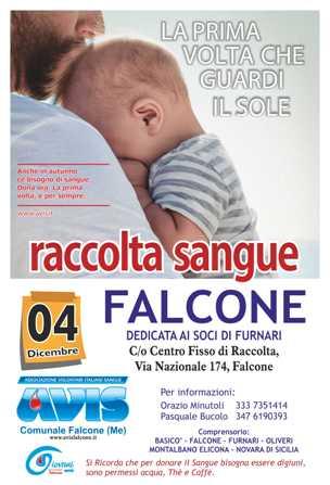 RACCOLTA SANGUE IL4 DICEMBRE A FALCONE C/o CENTRO FISSO DI RACCOLTA IN VIA NAZIONALE, 174