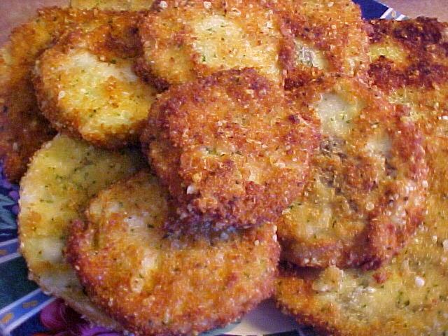 Délicieuses rondelles d'aubergines frites