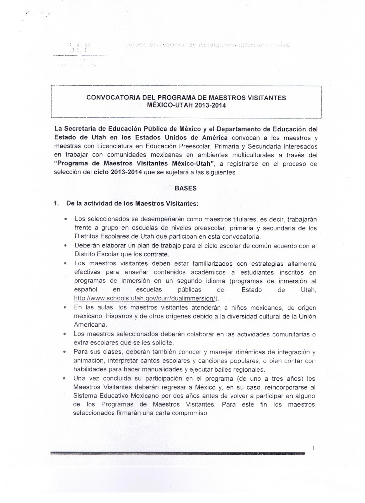 Sector 19 convocatoria del programa de maestros for Convocatoria de maestros