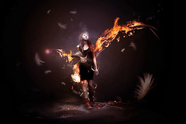 Design a Awesome Supernatural Dark Scene with Fiery Effect
