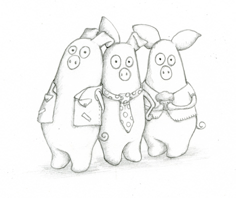 Three Little Pigs Drawing Three Little Pigs