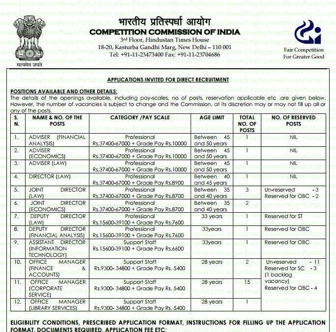 Competition Commission India, www.cci.gov.in, Recruitment 2015, job advertisemnet, employment news portal