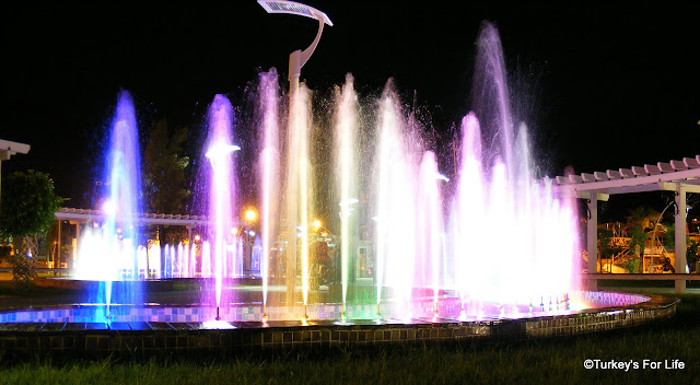 Rainbow Light Fountains, Fethiye Town Square, Turkey