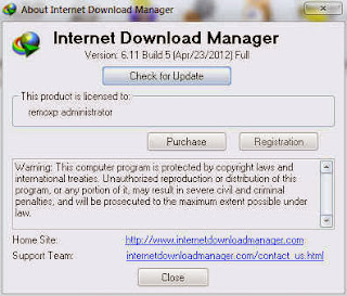 Picture showing Registered IDM 6.11 Build 5