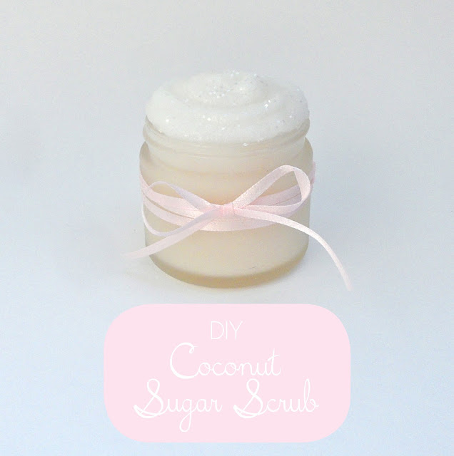 DIY Coconut Sugar Scrub. A decadent and beautiful sugar scrub made with coconut oil and white sugar.