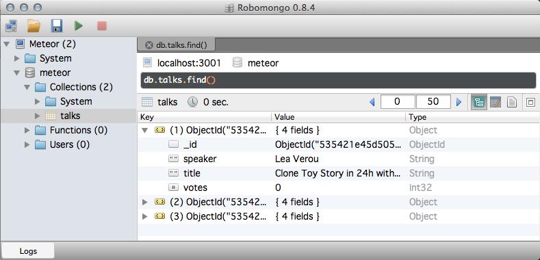 RoboMongo, the ultimate graphic admin tool for MongoDB and Meteor
