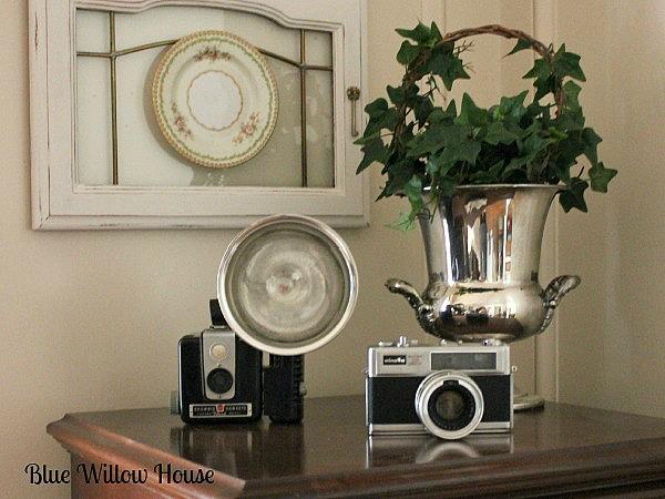 vintage cameras silver champagne bucket