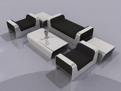 Plans - Modern Minimalist Black and White Living Room Furniture Design