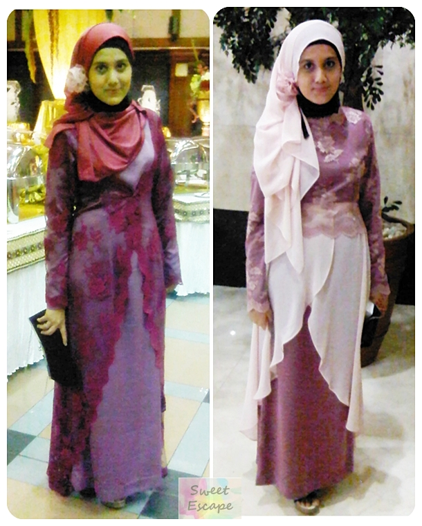 I wore same clutch wedges basic dress in purple satin headdress wedding