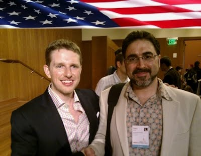 Sam Bazzi of Arcs, right, with Matt Mullenweg at WordCamp San Francisco