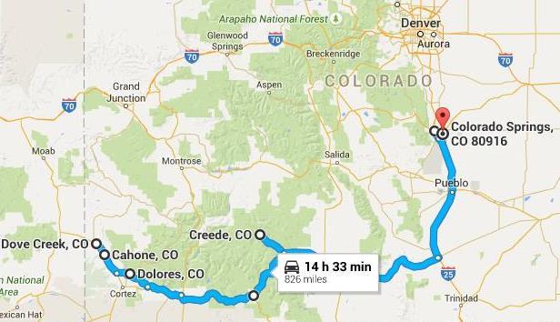 Southern Colorado Tour - Map of southern colorado