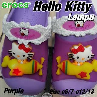 Crocs Hello Kitty lampu purple