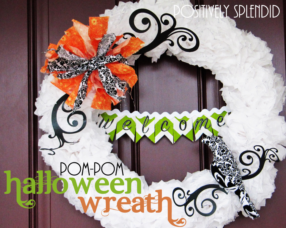 Tissue paper pom pom halloween wreath tutorial positively splendid crafts sewing recipes - Interesting diy halloween wreaths home ...