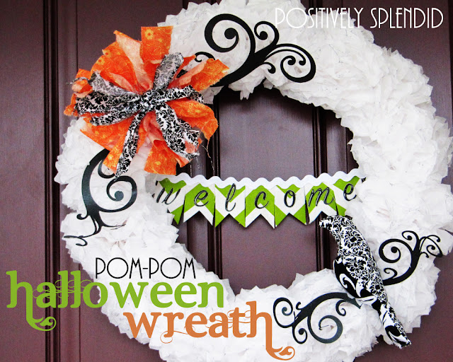 crafts tutorial: tissue paper pom-pom halloween wreath