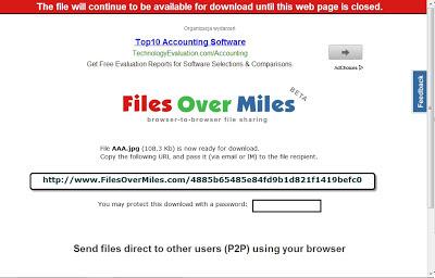 ارسال الملفات مباشرة عبر الانترنت بدون رفعها Send files direct to other users (P2P) using your browser
