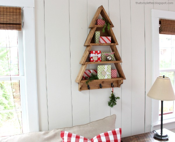 tree shaped wall shelf with free plans