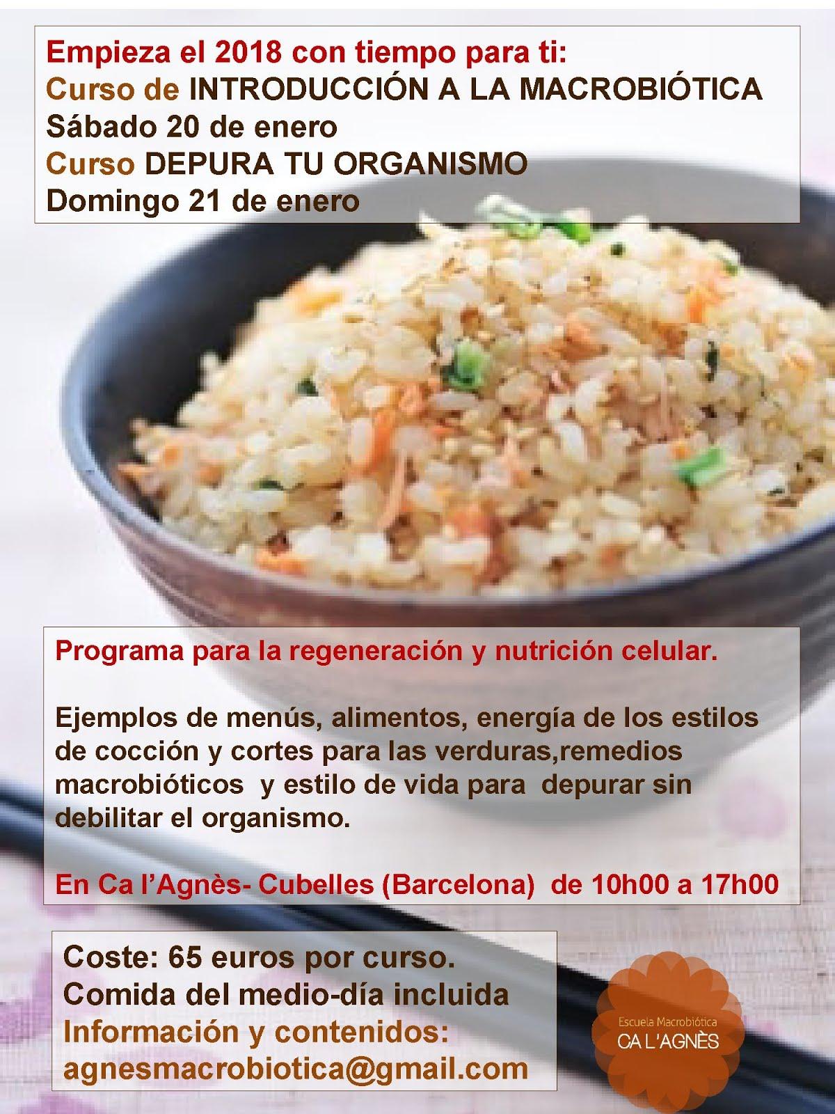 Cursos macrobiótica Enero 2018 en Cubelles (Barcelona)